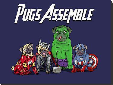 Pug Avengers Assemble 2 By Ben Farr Pug Cartoon Pugs Cool Pets