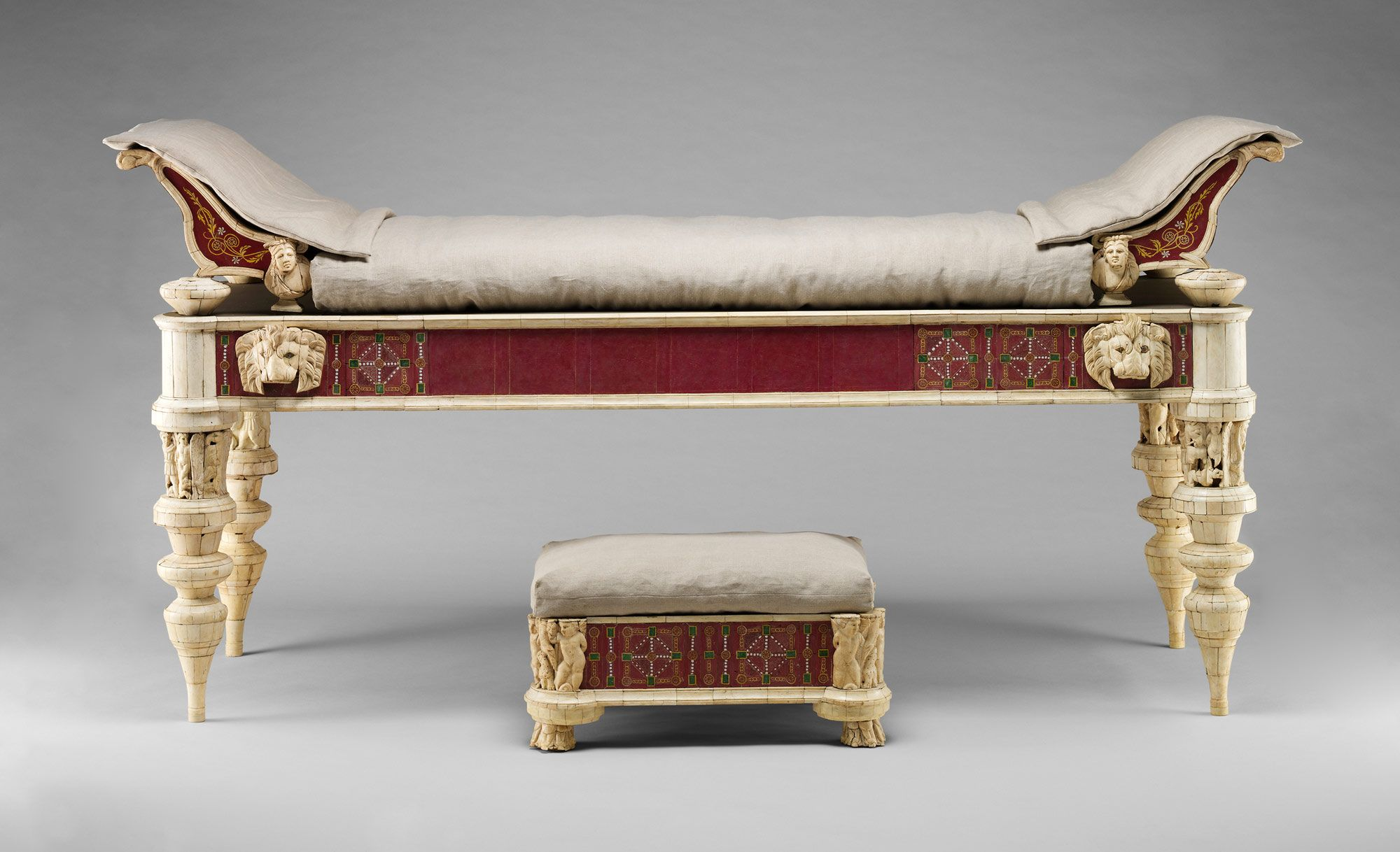 Roman Housing Ancient Rome Artifacts Sofa Bench Lectus Bed With Footstool Bone Carvings And Glass Inlays Regal