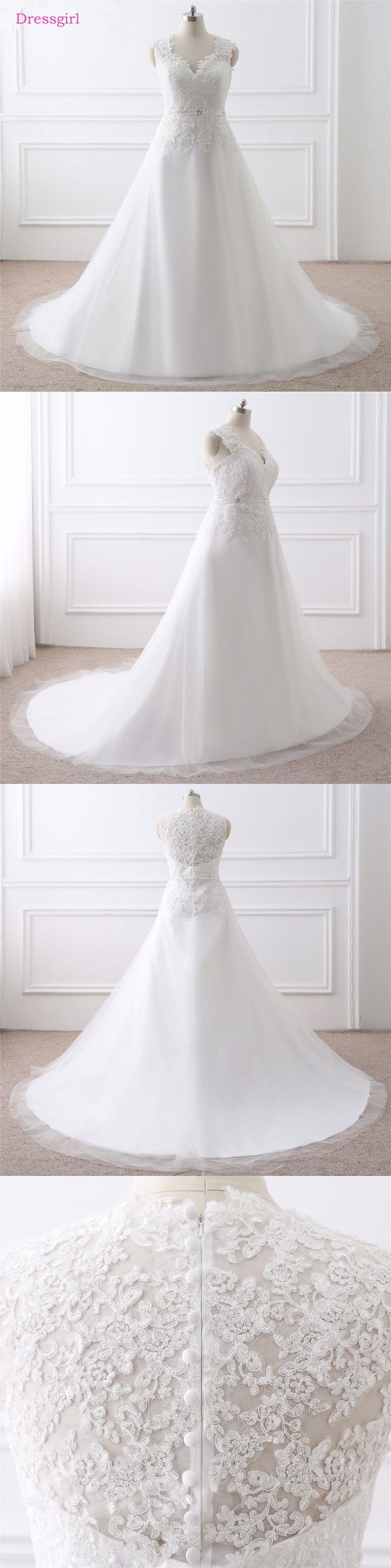 Boho wedding dress plus size  Plus Size Vestido De Noiva  Wedding Dresses Aline Vneck Cap