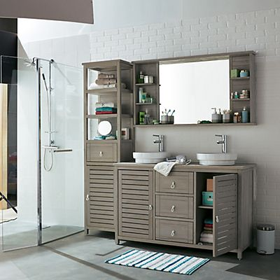 miroir de salle de bains avec tablettes en pic a 140cm. Black Bedroom Furniture Sets. Home Design Ideas