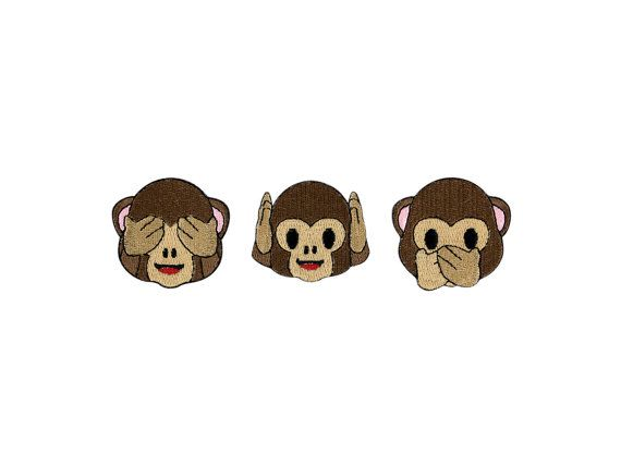 See No Evil Hear No Evil Or Speak No Evil Monkey Emoji Embroidered Iron On Patch Free Shipping Monkey Emoji Iron On Patches Evil