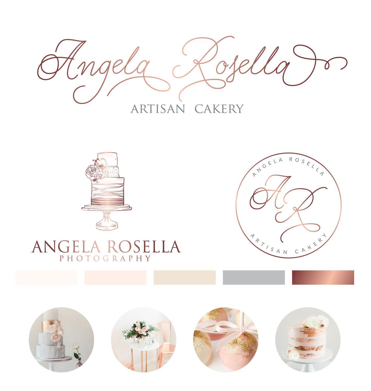 Wedding Branding Ideas: Rose Gold Cake Logo, Bakery Logo, Chic Modern Logo