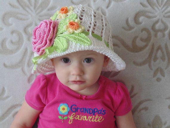 Crochet Cotton Sun Panama Cloche Hat White Baby Bonnet Hat with ...
