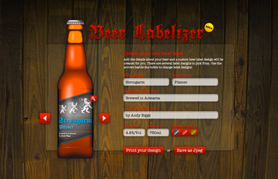 At Beer Labelizer A Personal Project From Designer Andy Biggs Choose From An Array Of Label Options And Type I Beer Label Maker Beer Bottle Labels Beer Label