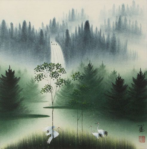 Waterfall Delight Watercolor Landscape Painting In 2020 Chinese