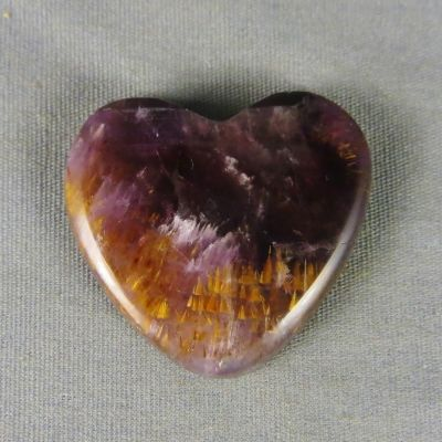 Cacoxenite in Amethyst Heart Cabochon