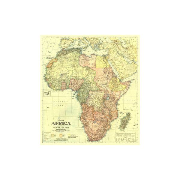 1922 Africa Map with portions of Europe and Asia Wall Art Print ($15 ...