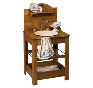 Great A Wooden Sink Base With Porcelain Bowl. This One Would Work In A Kitchen Or