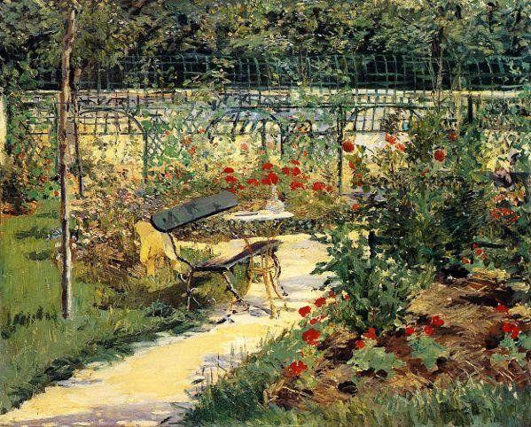 Edouard Manet「Le Banc(Le Jardin de Versailles)」(1880-81 - banc de jardin en pierre