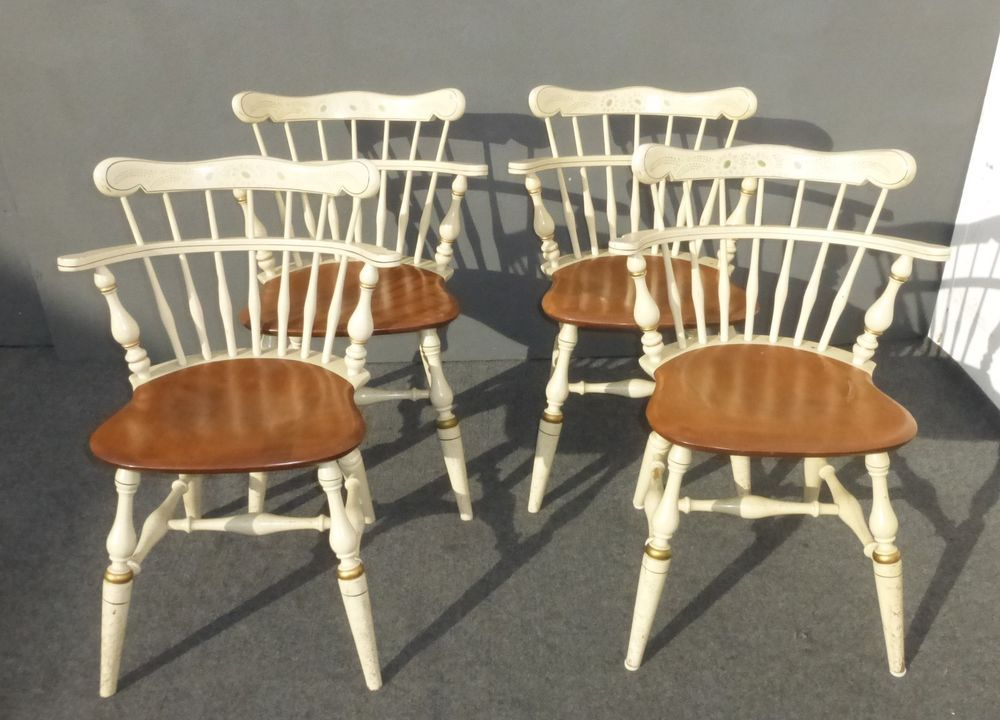 Four Beautiful Vintage ETHAN ALLEN French Country Style Comb Back Dining  CHAIRS #FrenchCountryCottageProvincial #EthanAllen