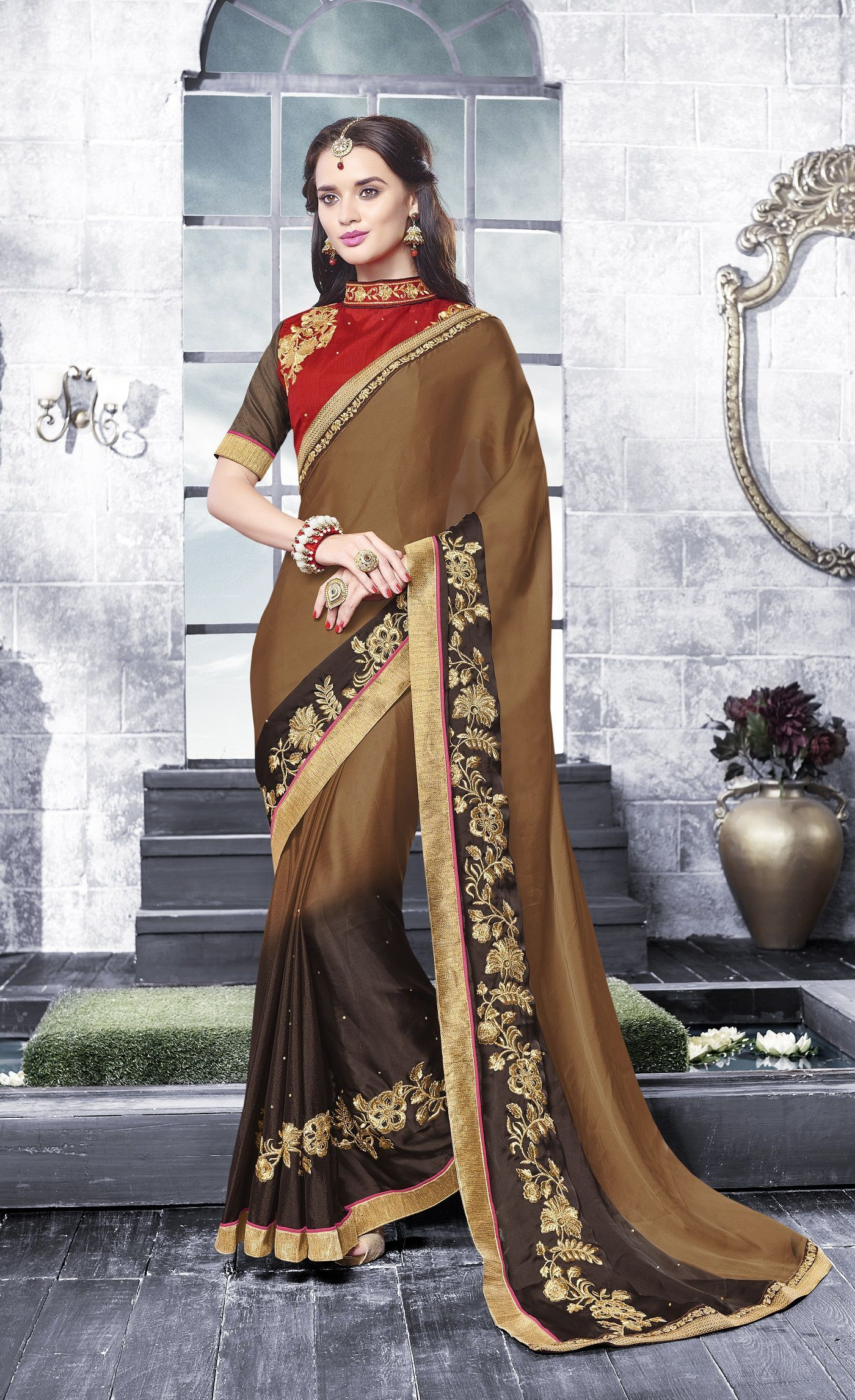 Party-wear-brown-black-color-saree | Party wear, Saree and Brown