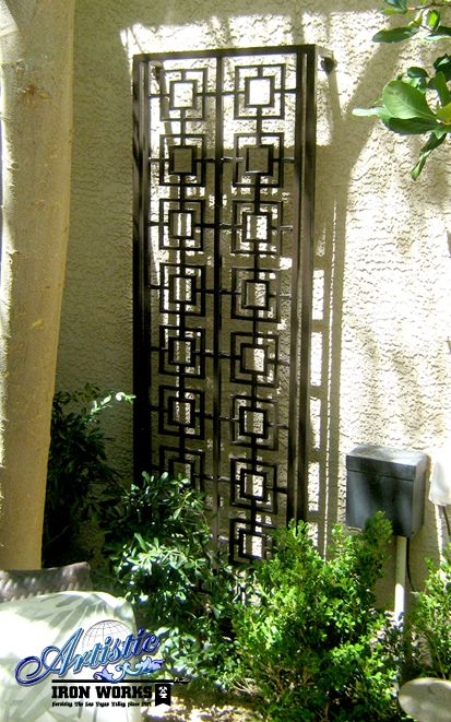 Asian Influenced Wrought Iron Trellis Wrought Iron