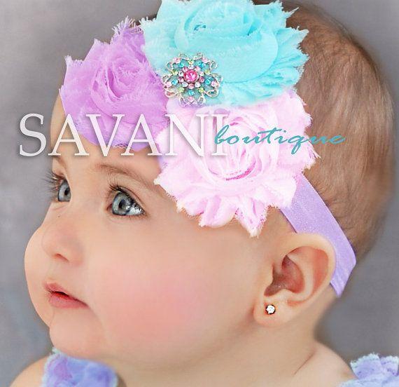 Diadema beb lavanda rosa aqua Baby banda por SAVANIboutique