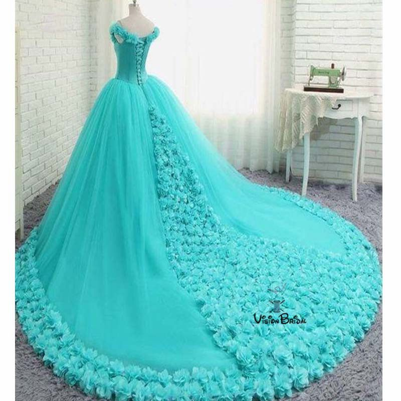 Gorgeous Turquoise Off Shoulder Ball Gown With Appliques