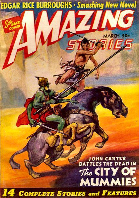 Amazing Stories Mar 1941 - John Carter battles the dead in The City of Mummies, Cover art by J. Allen St. John