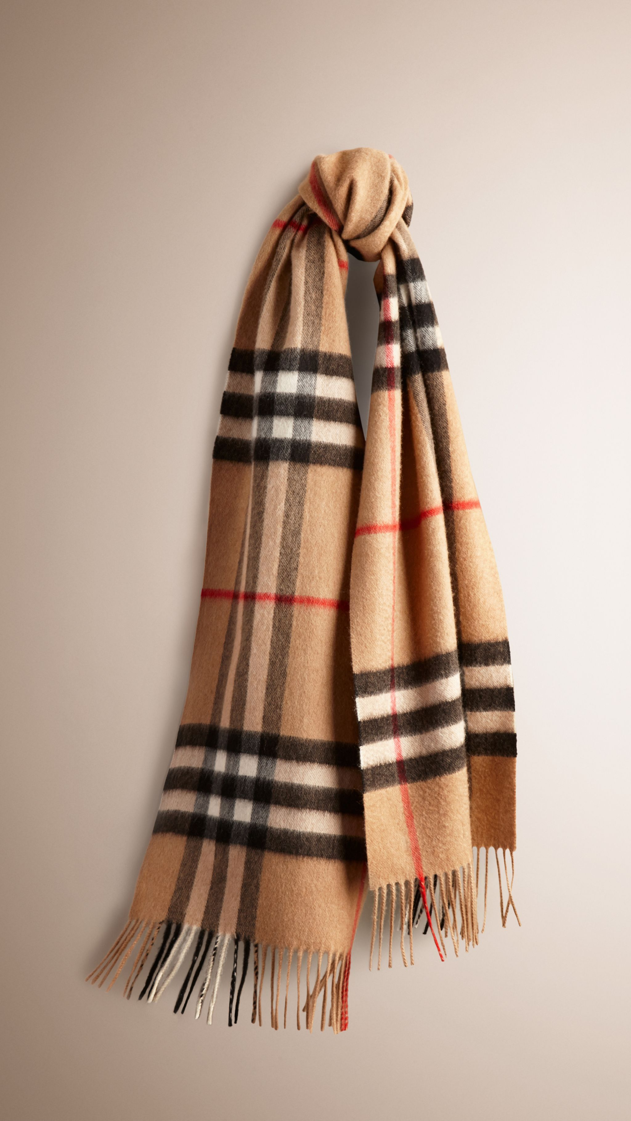 The Classic Cashmere Scarf in Heritage Check Camel Check   Burberry ... 9b89a68e148