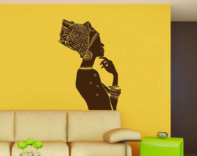 African women wall decal, African woman profile wall vinyl, Africa ...