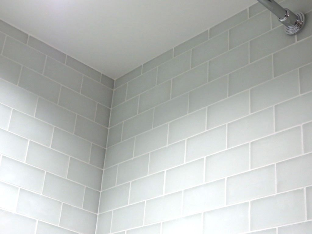 White Glass Subway Tile With Frost Grout Google Search