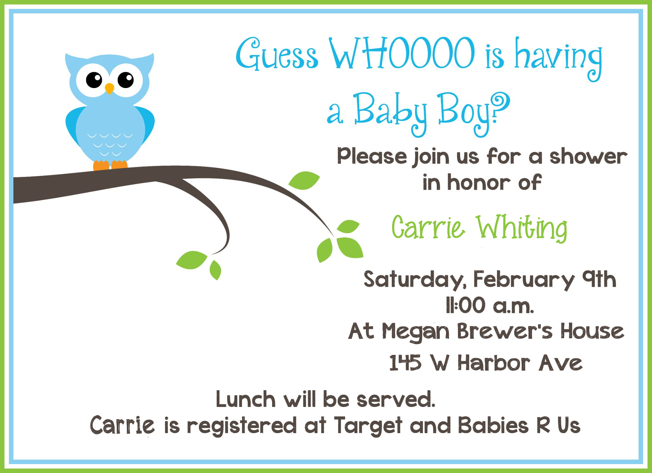 Free Printable Owl Baby Shower Invitations – Baby Shower Invitations Words
