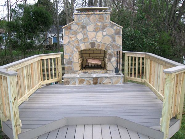 Love The Fireplace And Deck Idea Building A Deck Patio Deck Designs Outdoor Fireplace