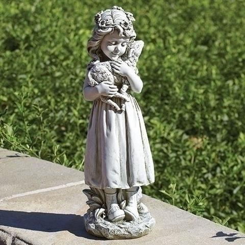 Little Girl Holding Lamb Garden Statue