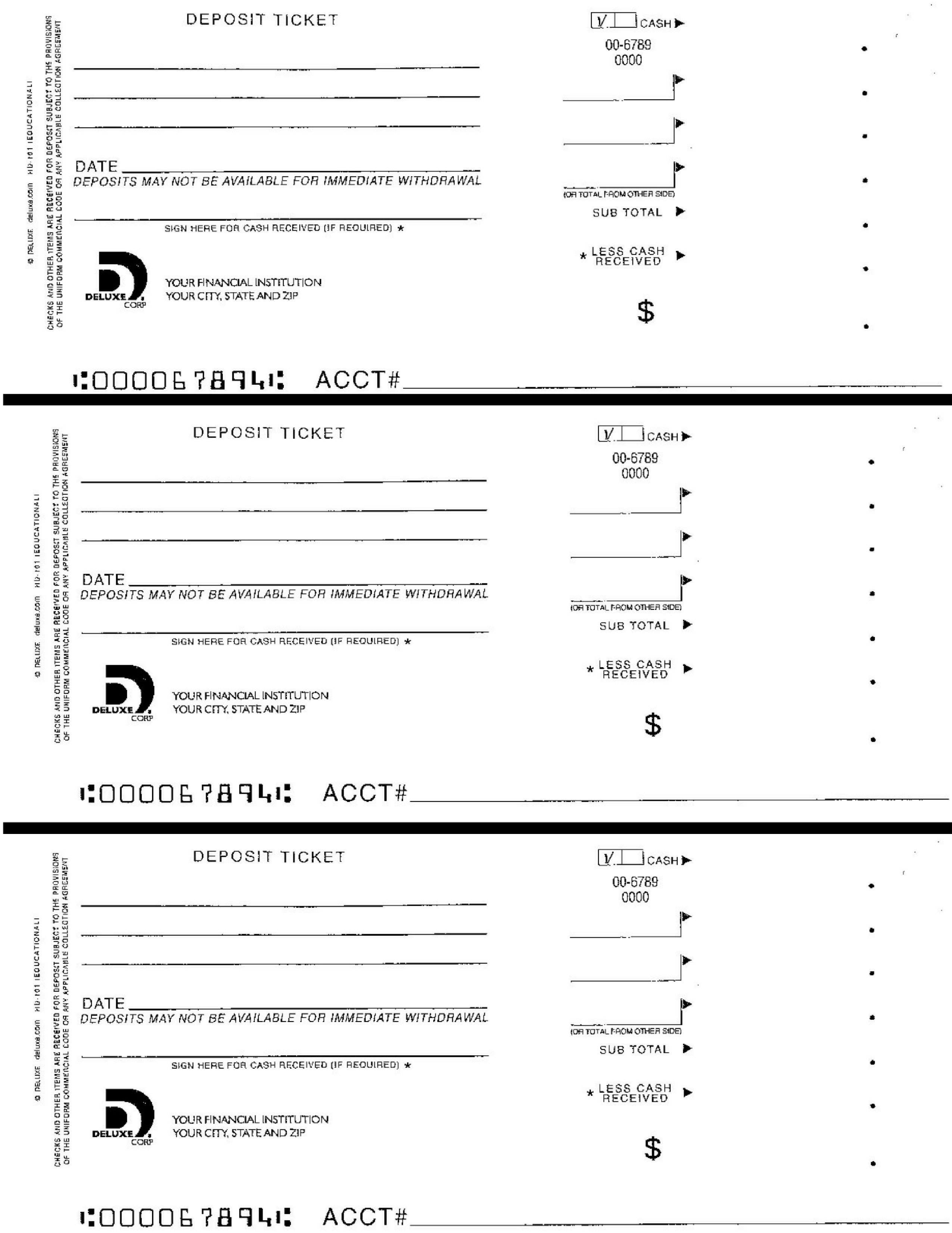 Download And Print To Practice Filling Out A Deposit Slip