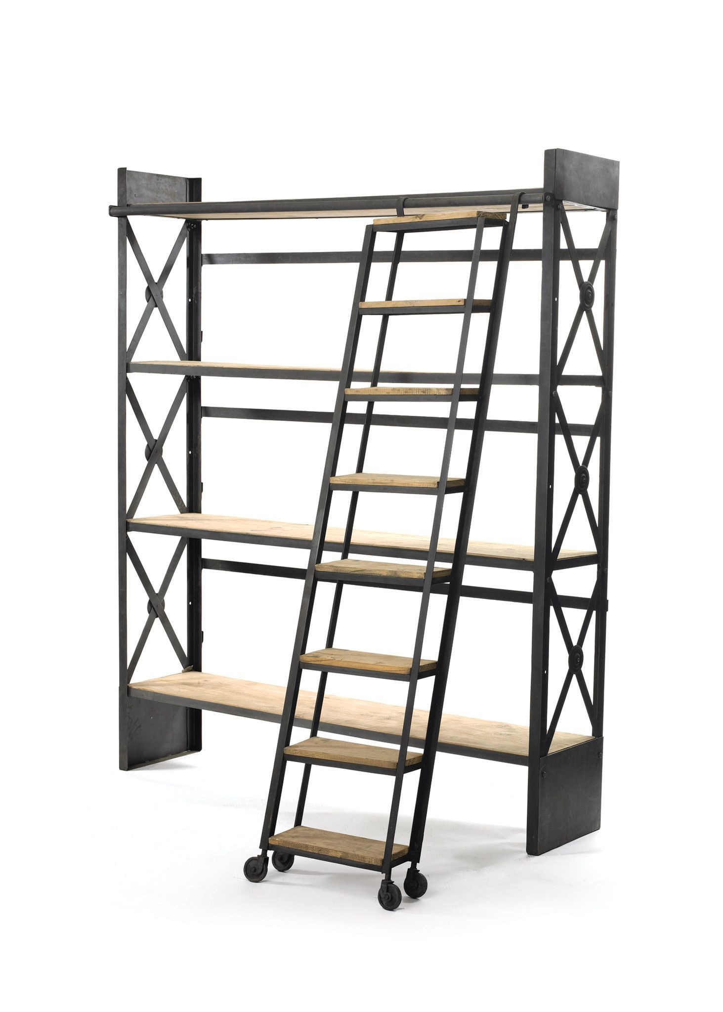 Loft bookcase with ladder in iron and reclaimed wood lofts iron
