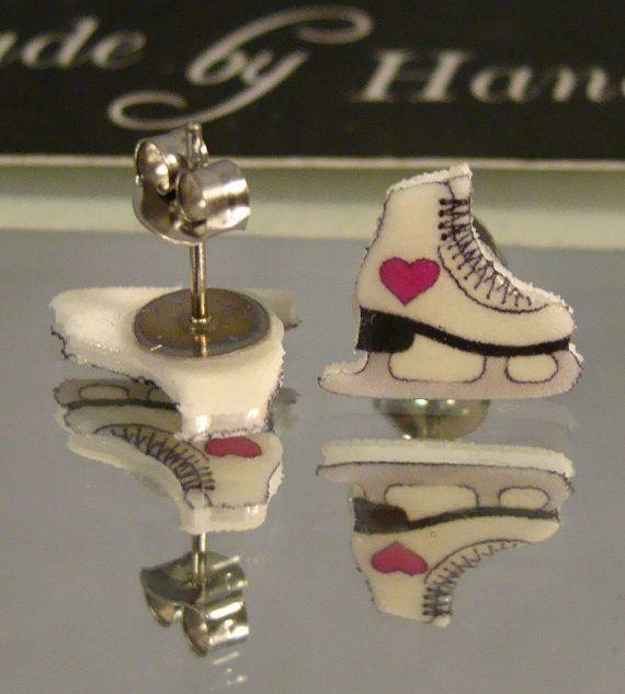 Ice Skates Stud Earrings I Love Skating Jewelry Pink
