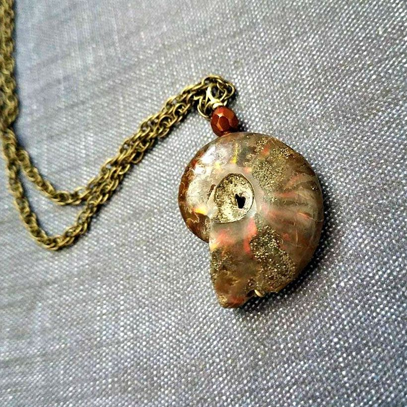 Opalized fossil ammonite pendant necklace ammonite pendant full opalized fossil ammonite pendant necklace ammonite pendant full ammonite pendant fossil necklace aloadofball Image collections