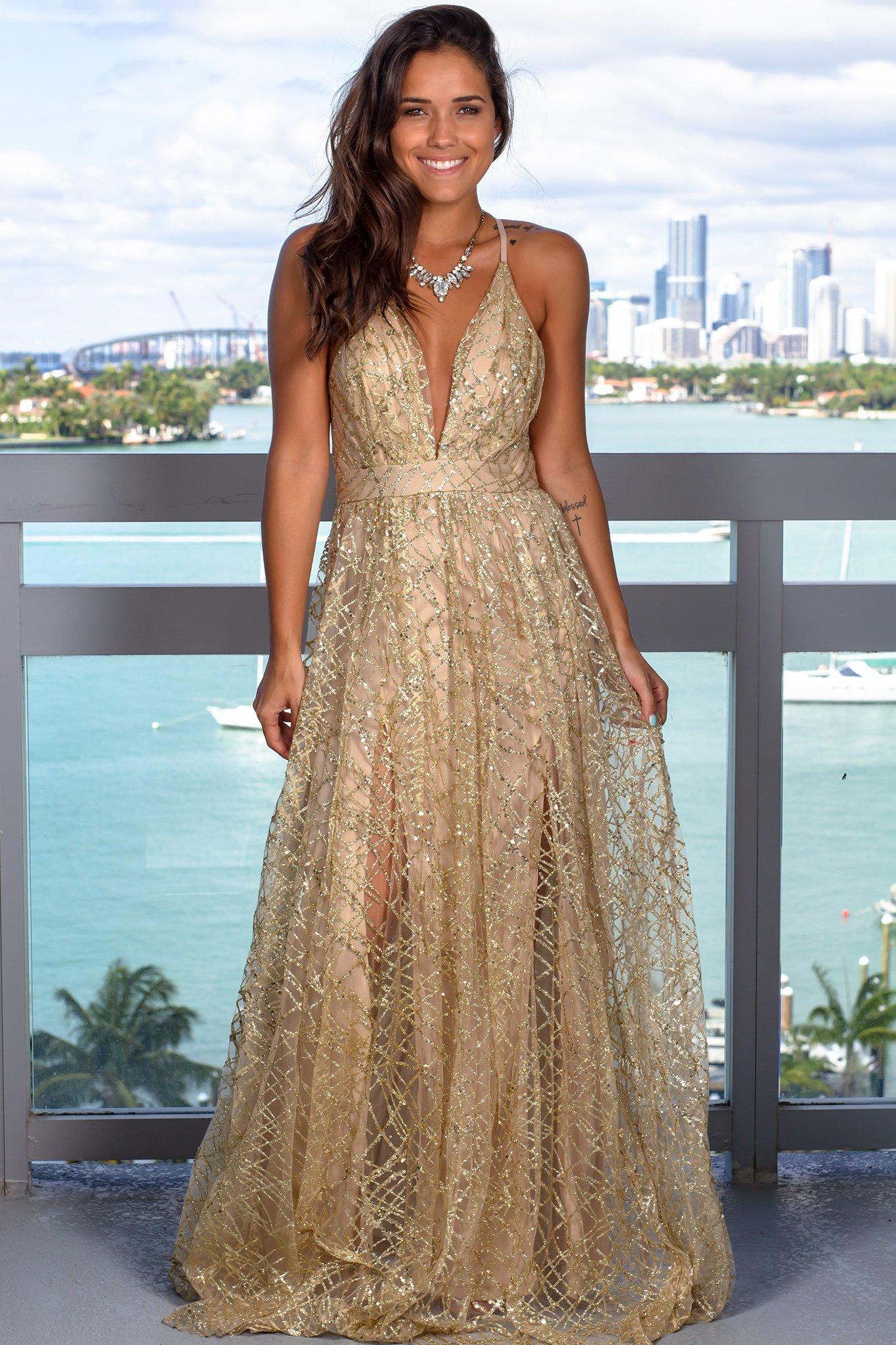 Gold Maxi Dress With Sequins Gold Maxi Dress Maxi Dress Floral Lace Maxi Dress [ 2047 x 1365 Pixel ]