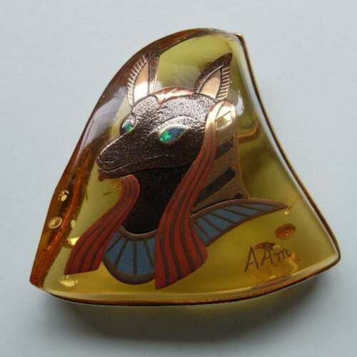 Japanese Brooch Amber Jewelry Maki-e Makie Anubis Kyoto #H5 for for Gift US $5,780.00