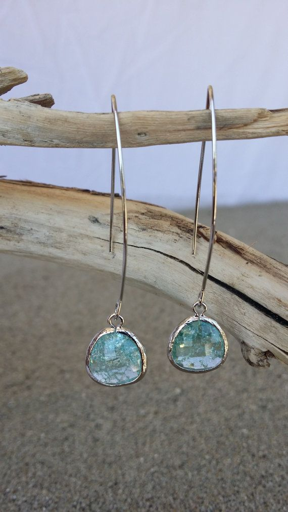 Bezel Set Drop Earring Faceted Crackled Glass Silver by Jadedslo- make wire shorter- for becca and toria