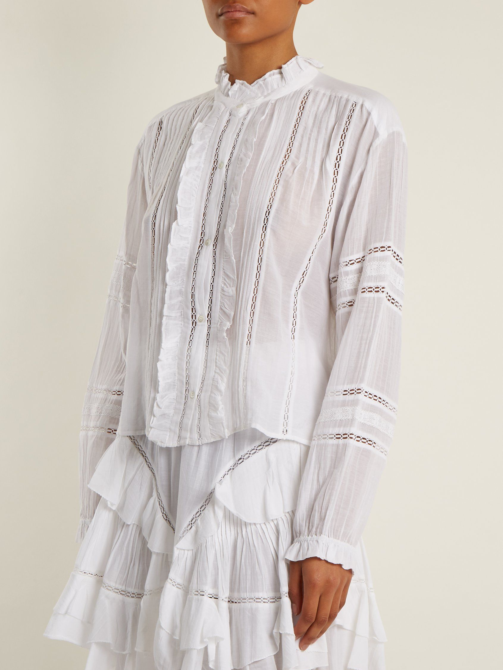 Clearance Cheap Valda lace-trimmed cotton-blend blouse Isabel Marant Free Shipping Very Cheap zSsj0a