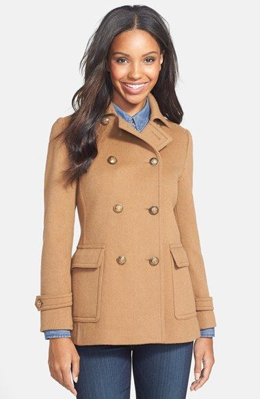 f78a918236375 Kristen Blake Double Breasted Wool Blend Skirted Peacoat (Regular   Petite)  available at  Nordstrom