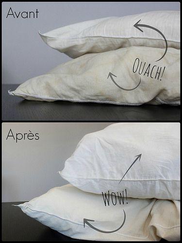 comment redonner vie des oreillers jaunis avec du. Black Bedroom Furniture Sets. Home Design Ideas