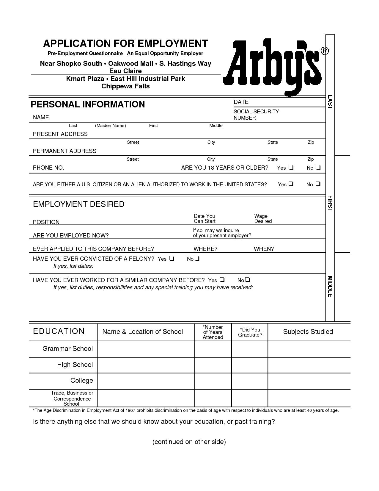 Arby Job Application Form Printable
