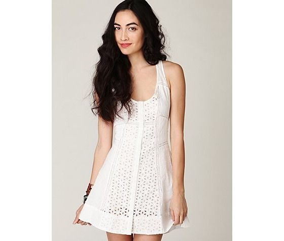 Free People Center of Attention Eyelet Dress in White $40.00