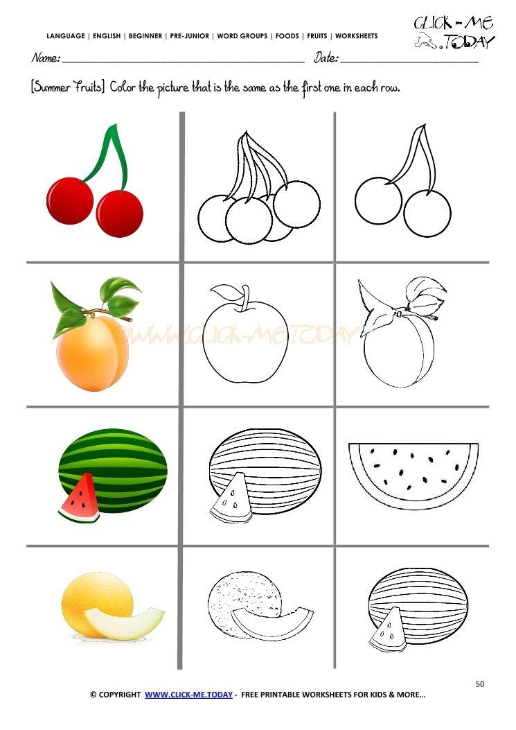 Fruits Worksheet 50 Color The Same Summer Fruit Coloring Worksheets For Kindergarten Kindergarten Worksheets Kids Worksheets Printables Printable fruits worksheets for