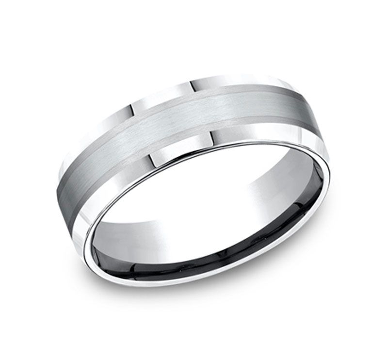 Men S 7mm Cobalt Ring With Silver Ring Ceramic Wedding Bands Rings Wedding Rings