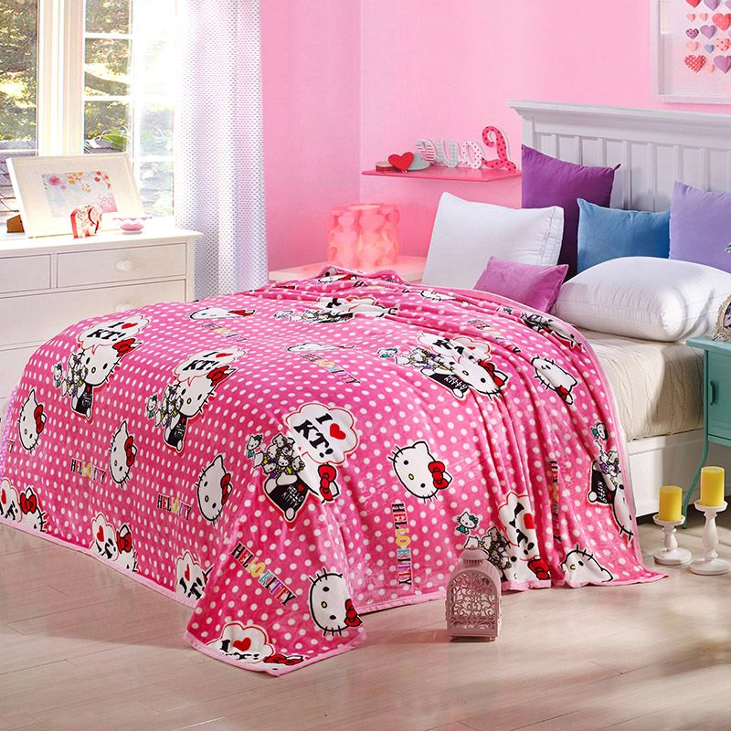 Hello Kitty Dot Blanket Kids Adult Cartoon Blanket Soft Thick Warm Velvet Blanket Thow On Bed Sofa Car Travel Blanket Bed Line Sofa Throw Blanket Soft Sofa Bed