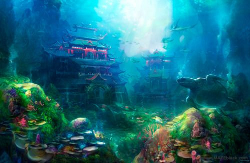 Falling Water House Wallpaper Underwater City Imagination In 2019 Fantasy Art