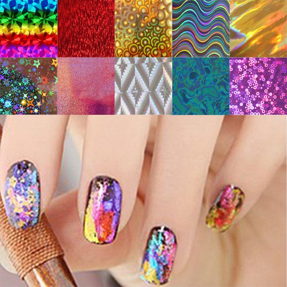 10pcs/lot Nail Art Transfer Foils Stickers Super Beautiful Nail Gel ...