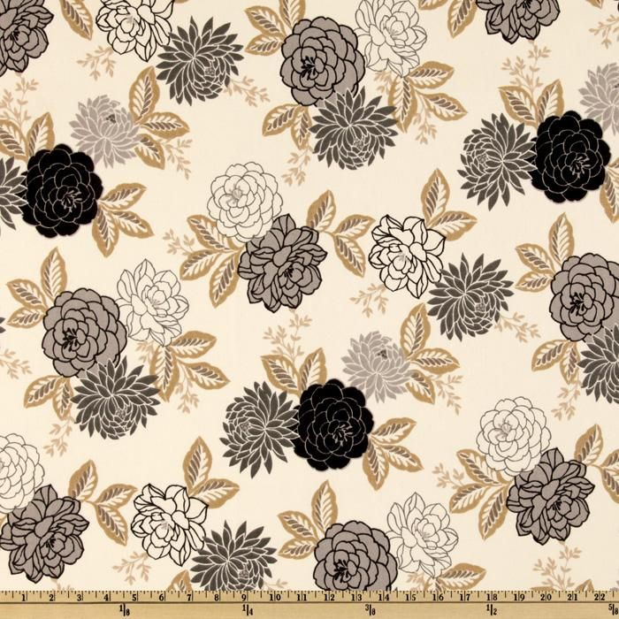 Fabric for master bathroom with black walls , white cabinet and base boards and a gold large mirror