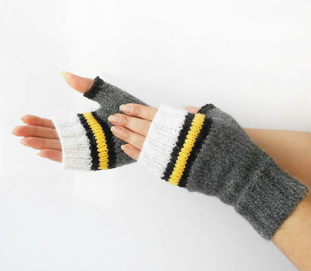 Gloves – Gray Fingerless Gloves, Gray Knitted Hand Warmers. – a unique product…
