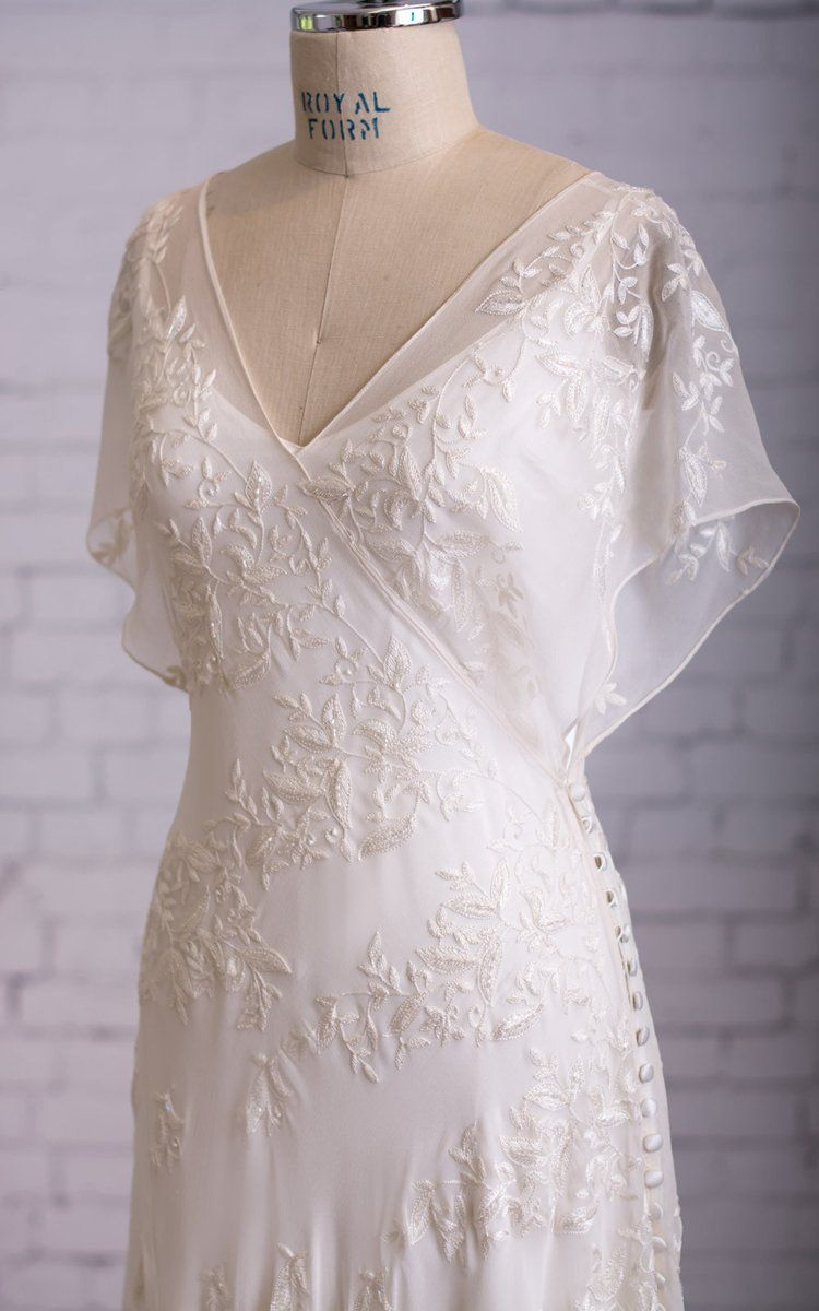 Casual wedding dresses with color  Graceful Vneck Vback Side Button Drecorated Dress With Butterfly