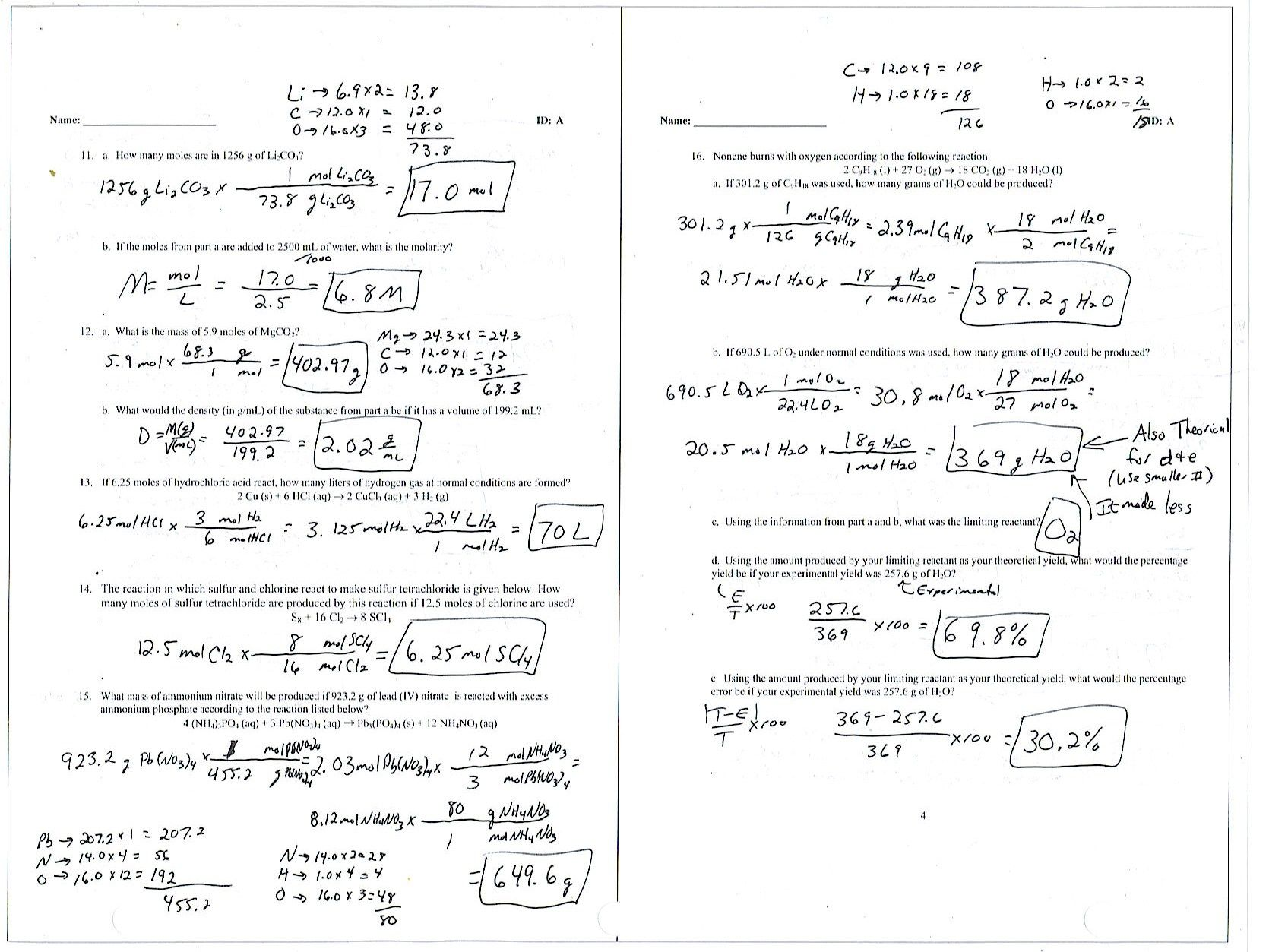 Answer Key Density Calculations Worksheet Answers