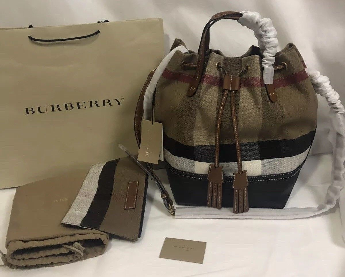 1b4506564c68 Details about Burberry Small Banner Leather Tote- Mahogany Red 4076637