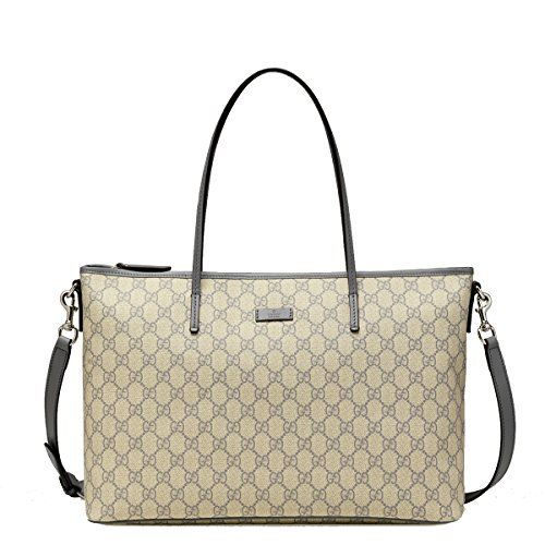 4662192209c9 Gucci Supreme Canvas and Leather GG Logo Shoulder Tote Bag with Shoulder  Strap , Grey / Gray