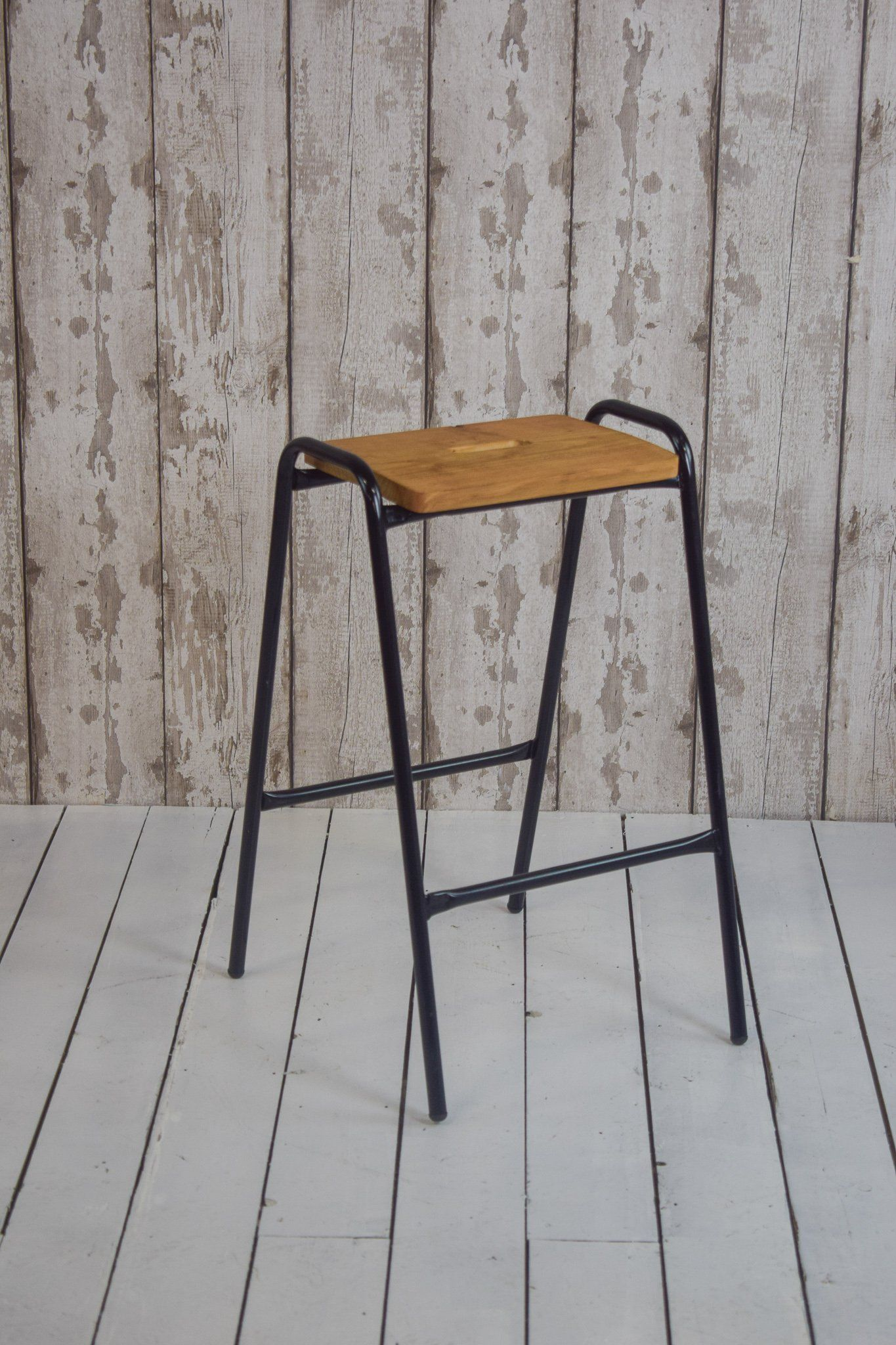 Vintage Cafe Bar Kitchen Stools With Black Metal Frames And Pine Seats Vintage Cafe Vintage Bedroom Decor Kitchen Bar