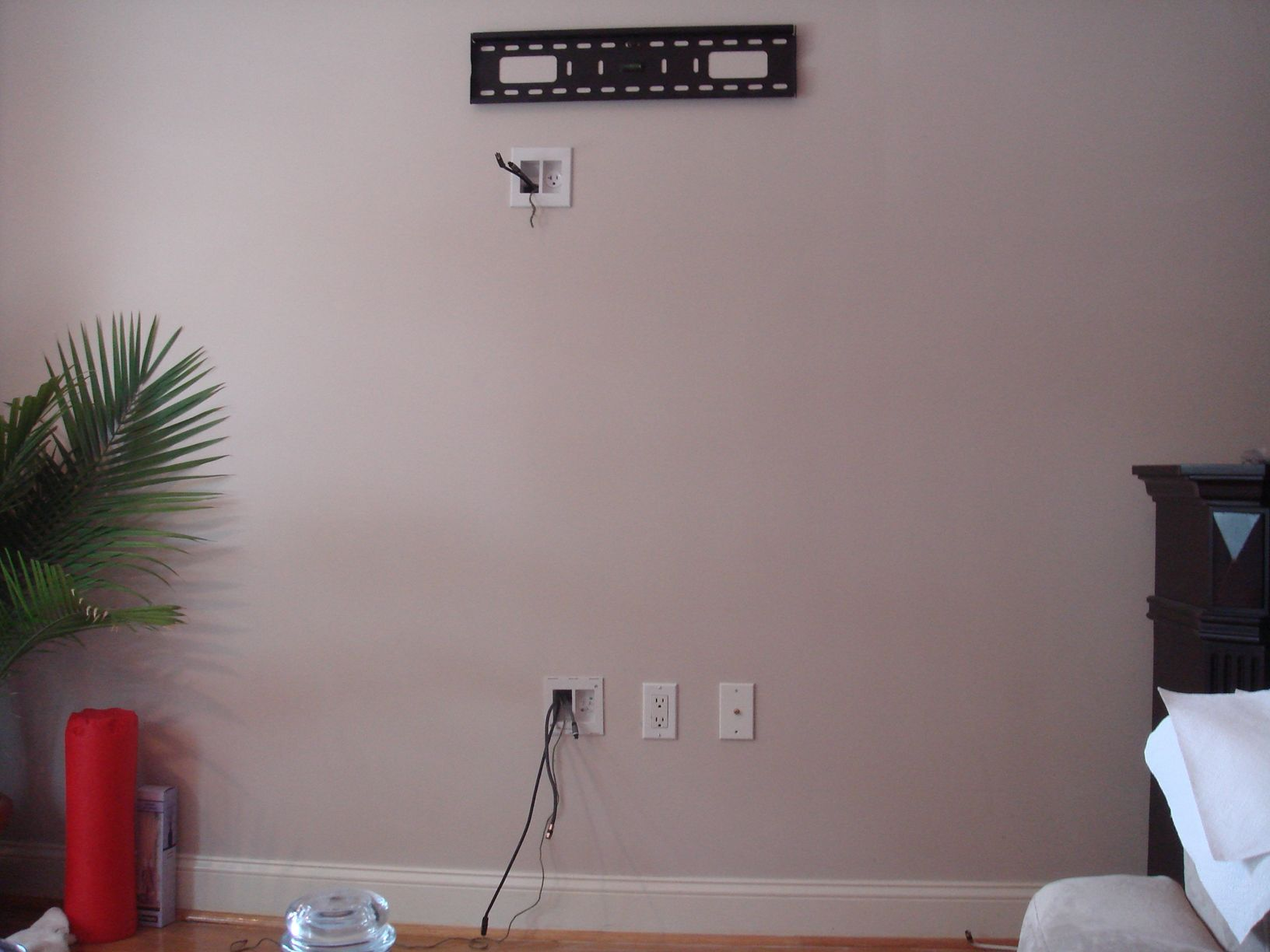 Concealing Wires For Home Theater | Concealing Wires In The Wall With A Power Bridge Before Tv Is